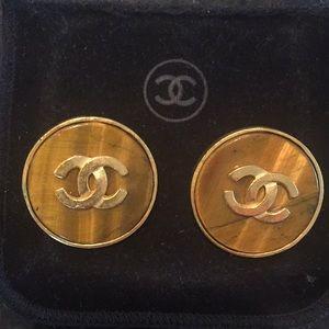 Chanel-Vintage Gold/Tortoise Shell ClipOn Earrings